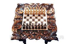 Шахматный стол , резьба по дереву, фото 3