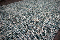 Голубой ковер из шерсти плетенный для загородного дома, фото 1