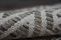 Необычный светлый серо бежевый безворсовый ковер на пол из шерсти и хлопка с необычным плетением, фото 1