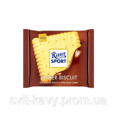 "Шоколад Ritter Sport Butter biscuits ""С бисквитным печеньем"" 100гр., Германия, фото 2"