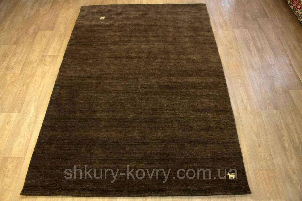 Однотонный коричневый узелковый шерстяной ковер с небольшим рисунком