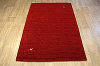 Однотонный красный узелковый шерстяной ковер с минимальным рисунком, фото 1