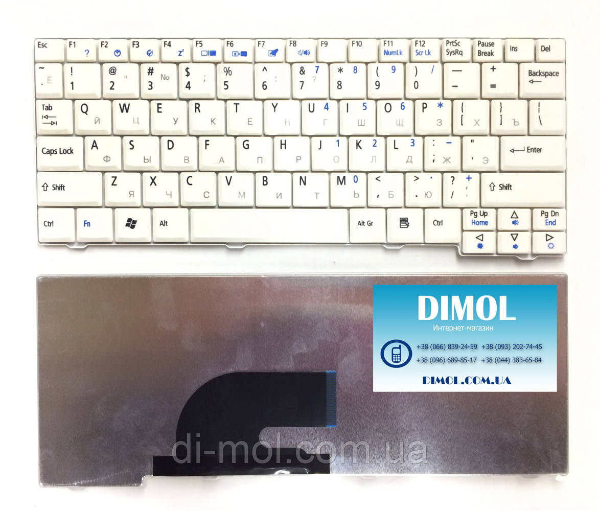 Оригинальная клавиатура для ноутбука Acer Aspire One A150 series, ru, white