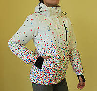 Куртка зимняя женская Azimut 8982-53 белая разноцветный горох код 2028А