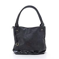 Удобная кожаная сумка. Вместительная сумка. Кожаная сумка с лаковой вставкой. Дерзкая сумка. Код: КБН126