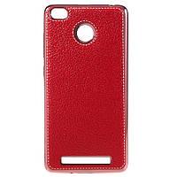 Чехол накладка для Xiaomi Redmi 3 PRO / Redmi 3S силиконовый, Фактура кожи, красный