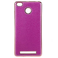Чехол накладка для Xiaomi Redmi 3 PRO / Redmi 3S силиконовый, Фактура кожи, розовый