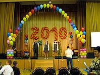 Гелиевая арка,год выпуска из шаров, две ромашки и 4 фонтана на подставке