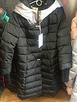 Зимнее стеганое пальто с капюшоном 2 цвета