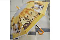 Зонт детский трость Песики желтенький