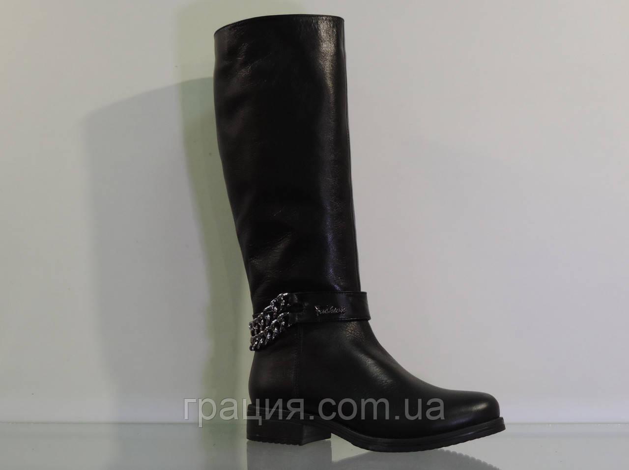 Молодіжні зимові шкіряні чобітки з ланцюжком
