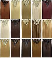 Накладные термо волосы для наращивания на заколках набор из 7-ми прядей выбор цвета