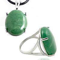 Нефрит, серебро 925, кольцо и кулон комплект