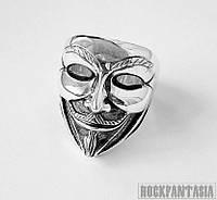 Серебряное кольцо Маска Гая Фокса из фильма V Vendetta