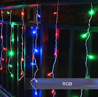 Разноцветная Гирлянда Свеча Штора - Бахрома на белом проводе 3 x 0,35 м 160 LED мультиколор, занавес Плей Лайт
