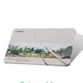 """Карандаши цветные Marco 7120-12TN 12цветов D2,9мм шестигранные акварельные с кисточкой """"Raffine"""", металлическая коробка"""