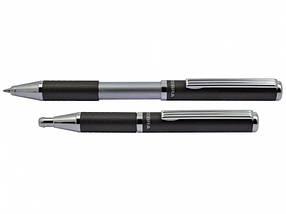 Ручки подарочные в эксклюзивном футляре Zebra SL-F1 синий РШ металлическая Slide 0,7 в футляре серая