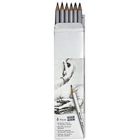 Карандаш чернографитный Marco 7000DM 6CB 6шт шестигранный без ластика  заточенный (2Н-3В) GR