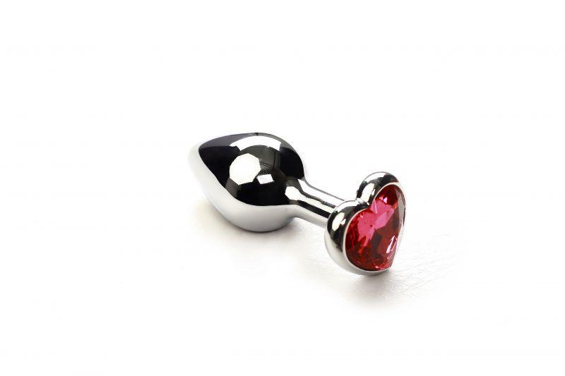 SLash - Анальная пробка,Silver Heart  Pink-Rhodolite