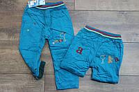Утепленные катоновые брюки на флисе 1- 2 года