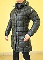 Женский зимний плащ Найк 6157652 чёрно-салатовый  код 2035А