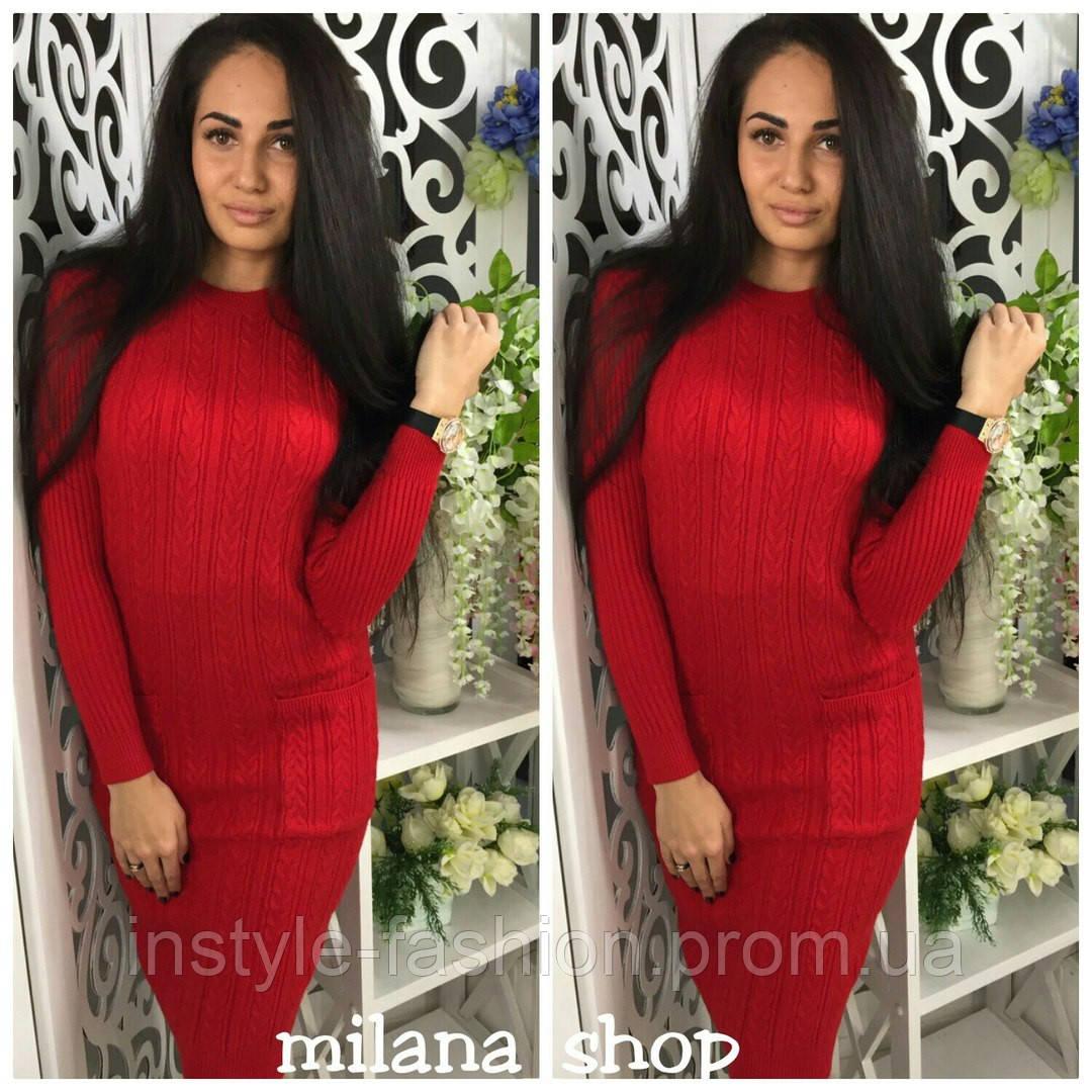 Повседневное женское платье с карманами трикотаж (крупная машинная вязка) красное