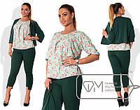 Яркий женский костюм-тройка в батальных размерах l-1515905