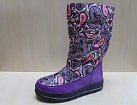 Сапожки дутики на девочку, детская зимняя термо обувь, черные сапоги Томм р.33,37,38