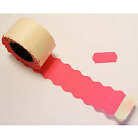 Ценник рулонный розовый А12(26х12),6м, 500шт,фигурн