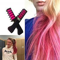 Мелок-расческа для временного окрашивания волос (цвет: розовый)
