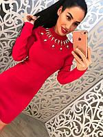 Осеннее платье с камнями вокруг шеи (красный, черный)
