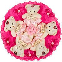 Букет из мягких игрушек Мишки розовые в малиновом
