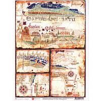Бумага для декупажа Cheap Art 69301721 21*29,7см, 45г/м2 Старинная карта