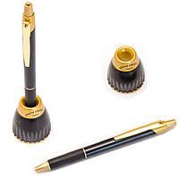 Ручки подарочные без футляра Pierre_Cardin синий РШ 6th Sense Gold на подставке черная/золото