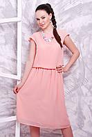 Легкое и воздушное персиковое платье из шифона