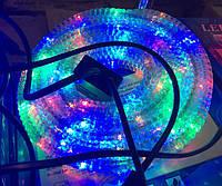 Дюралайт 10 м, готовый комплект с розеткой, светодиодный дюралайт гафрированный, цвет разноцветный