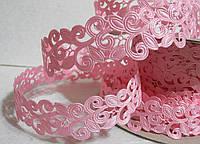 Ажурная лента, 2 см  розовая