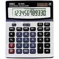 Калькулятор Deli 1654С серый 12 разряд, 186х147х39,5, пластик корп, пластик кн