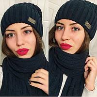 Стильный женский комплект шапка + шарф в разных цветах