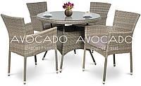 Комплект  ROMA / LERIDA  GREY стол 80см +4 кресла