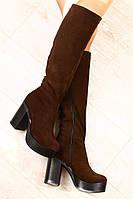 Сапоги замшевые на толстом устойчивом каблуке евро зима шоколадного цвета