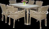 Комплект  MANILA  / LERIDA  GREY стол 140см +6 кресел