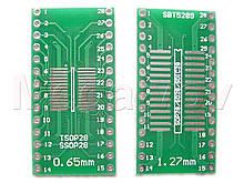 Макетная плата адаптер DIP  SOP28 / SOIC28 / SO28  / TSSOP28 / SSOP28  18x34 мм -универсальная