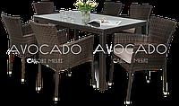 Комплект обеденный плетеный TORINO  / LERIDA   стол 150см +6 кресел