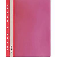 Скоросшиватели Economix 31508-03 красный А4 РР прозрачный верх, с перфорацией
