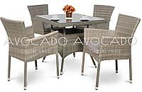 Комплект  QUADRO / LERIDA GREY  стол 80X80см +4 кресла