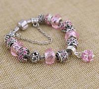 Женский браслет в стиле Pandora розовый с подвеской