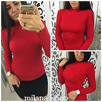 Женский повседневный свитер трикотаж (мелкая машинная вязка) цвет красный