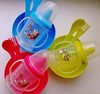 Набор детской посуды 4 предмета: поилочка, мисочка, ложечка и вилочка., фото 1