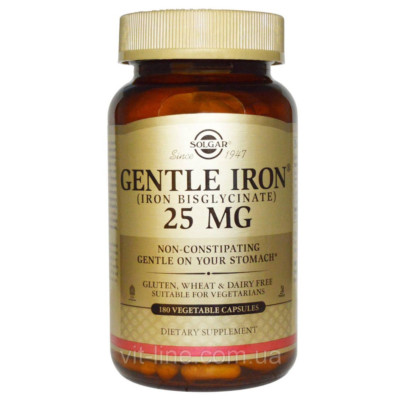 Solgar, Gentle Iron,  Железо 25 мг, 180 растительных капсул